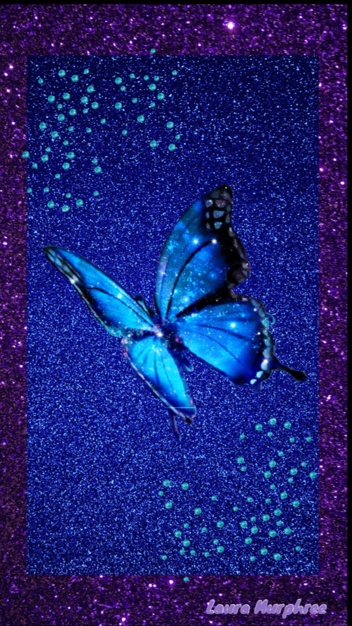 Sparkle Iphone Blue Butterfly Wallpaper