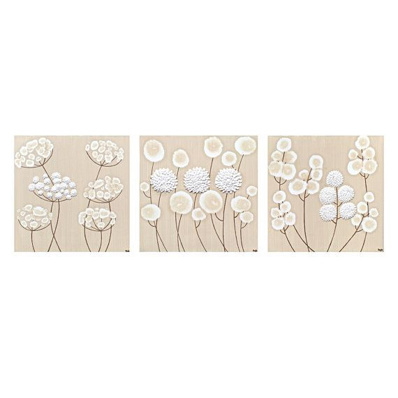 Set of Three Wall Art Neutral Paintings on Canvas, White Flower