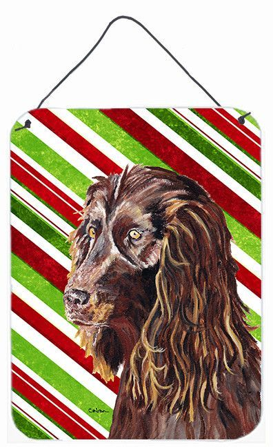Boykin Spaniel Candy Cane Christmas Aluminium Metal Wall or Door Hanging Prints