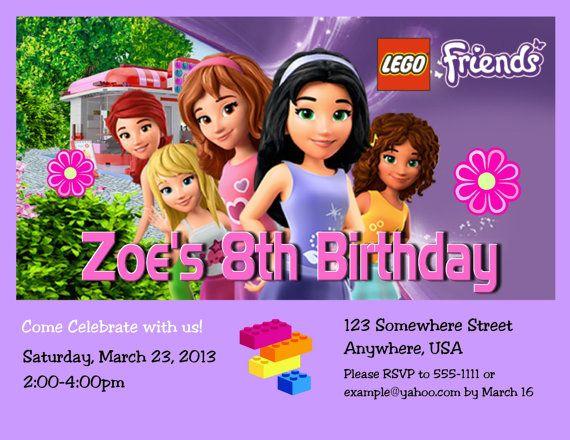 Lego Friends Girl Birthday Party Invitation With Free By Design13 9 99 Lego Friends Birthday Lego Friends Party Lego Friends