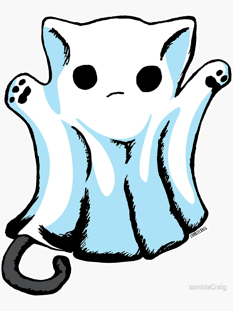 Boo Ghost Cat Halloween' Sticker von zombieCraig