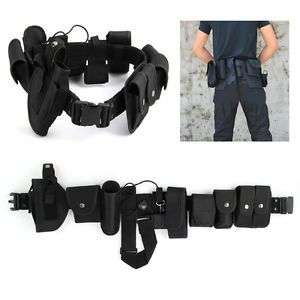 Military Security Guard Utility Duty Tactical Belt Waterproof with 9 Pouches Bag
