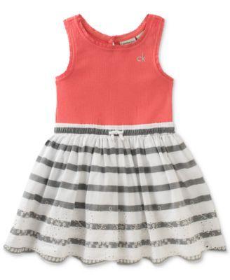 6d42767f94c38 Calvin Klein Striped Cotton Dress, Baby Girls (0-24 Months) | macys ...
