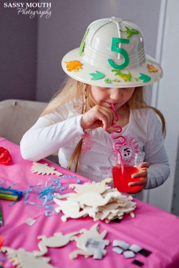 Dino party excavator hat