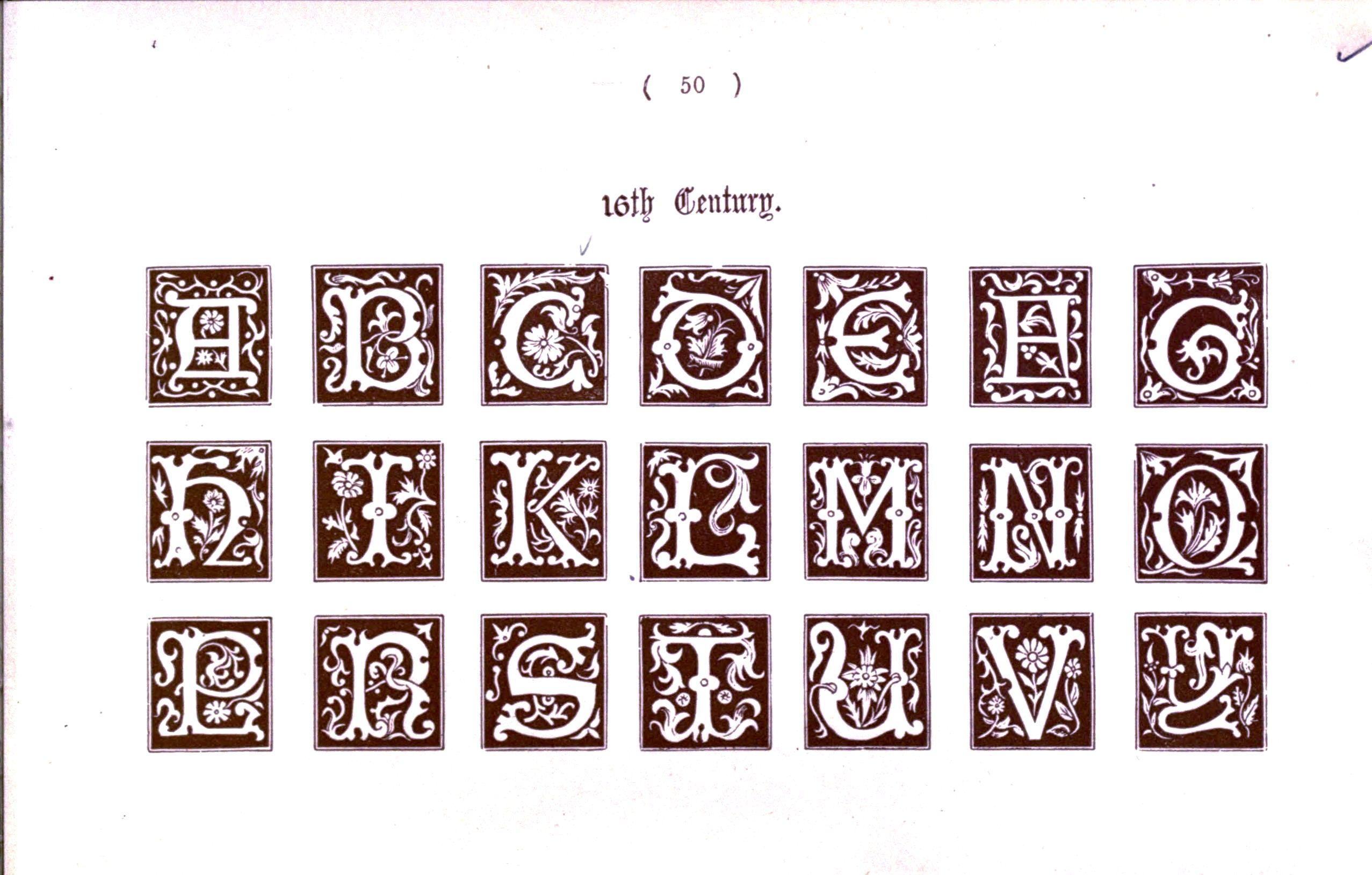 Medieval style writing alphabet printables