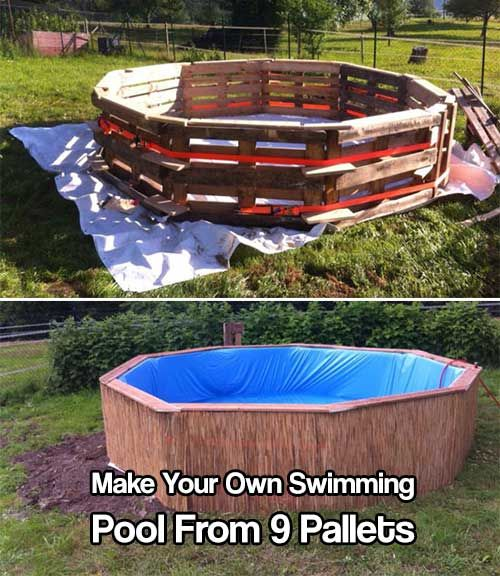 Make Your Own Swimming Pool From 9 Pallets Diy Pool Diy Swimming Pool Pallet Pool