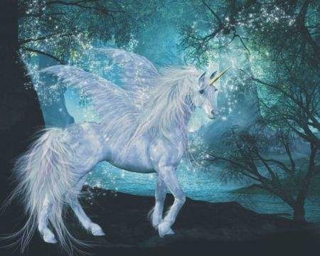 Cute Mermaid Phone Wallpaper Pegicorn Blue Fantasy Fly Forest Horse Pegacorn