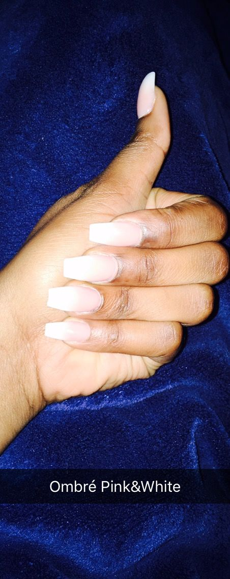 ombré pink and white black nails woc blackskin pinkandwhite