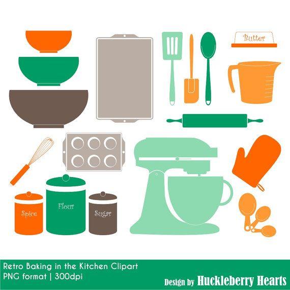 Kitchen Design Clip Art: Retro Kitchen Baking Clipart, Digital Clip Art, Digital