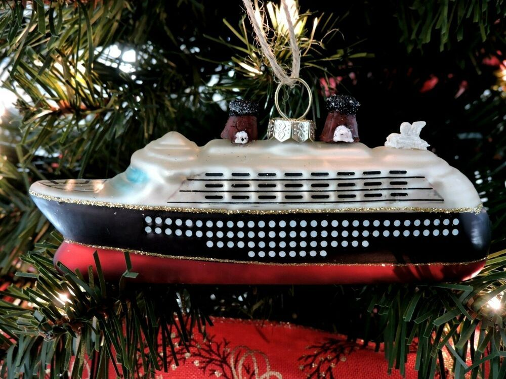 Pottery Barn Cruise Ship Christmas Ornament Glass Hand Painted