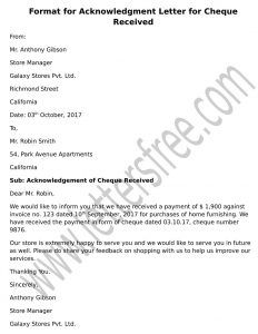 Letter Of Acknowledgement For Cheque Received  Confirmation