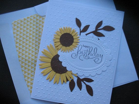 This sunflower birthday card is like a bouquet of flowers sent right from your garden.    These two yellow sunflowers are double die cut and