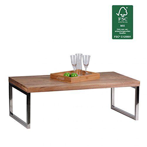 FineBuy Couchtisch Massiv Holz Akazie 120 Cm Breit Wohnzimmer Tisch Design Dunkel Braun