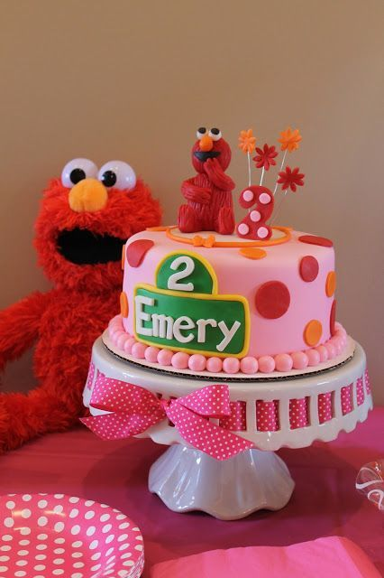 Elmo Birthday Party For A Girl Second Birthday Pink Red