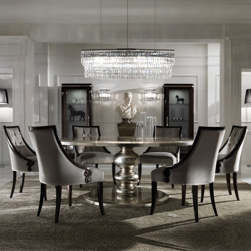 Large Round Italian Champagne Leaf Dining Table And Chairs Set At Juliettes Interiors A Collection Of Contemporary Sets
