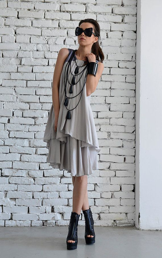 d1670838cd68 Extravagant Loose Grey Dress Sexy Short Summer Dress Long Casual ...