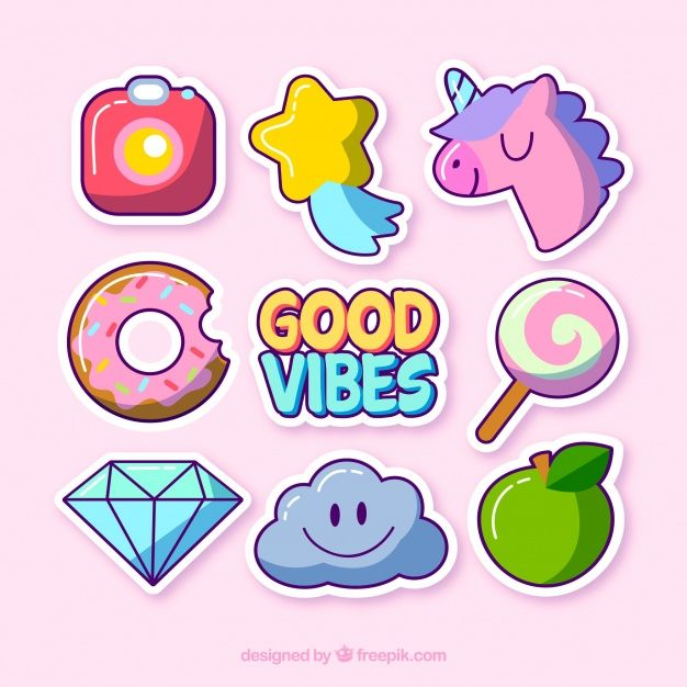Cute variety of funny stickers Free Vector