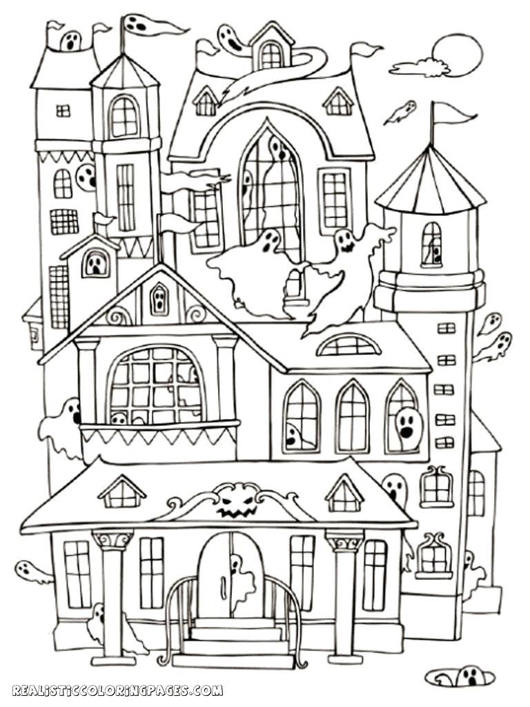Coloring Pages Haunted House to Print in 2020 House