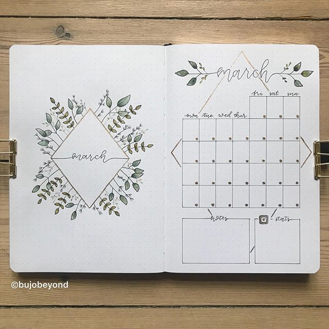 • March overview • . My March cover page and monthly calendar side by side 🌿 I really like how these two go together 💛 #bujomonthly #march #monthlyplanner