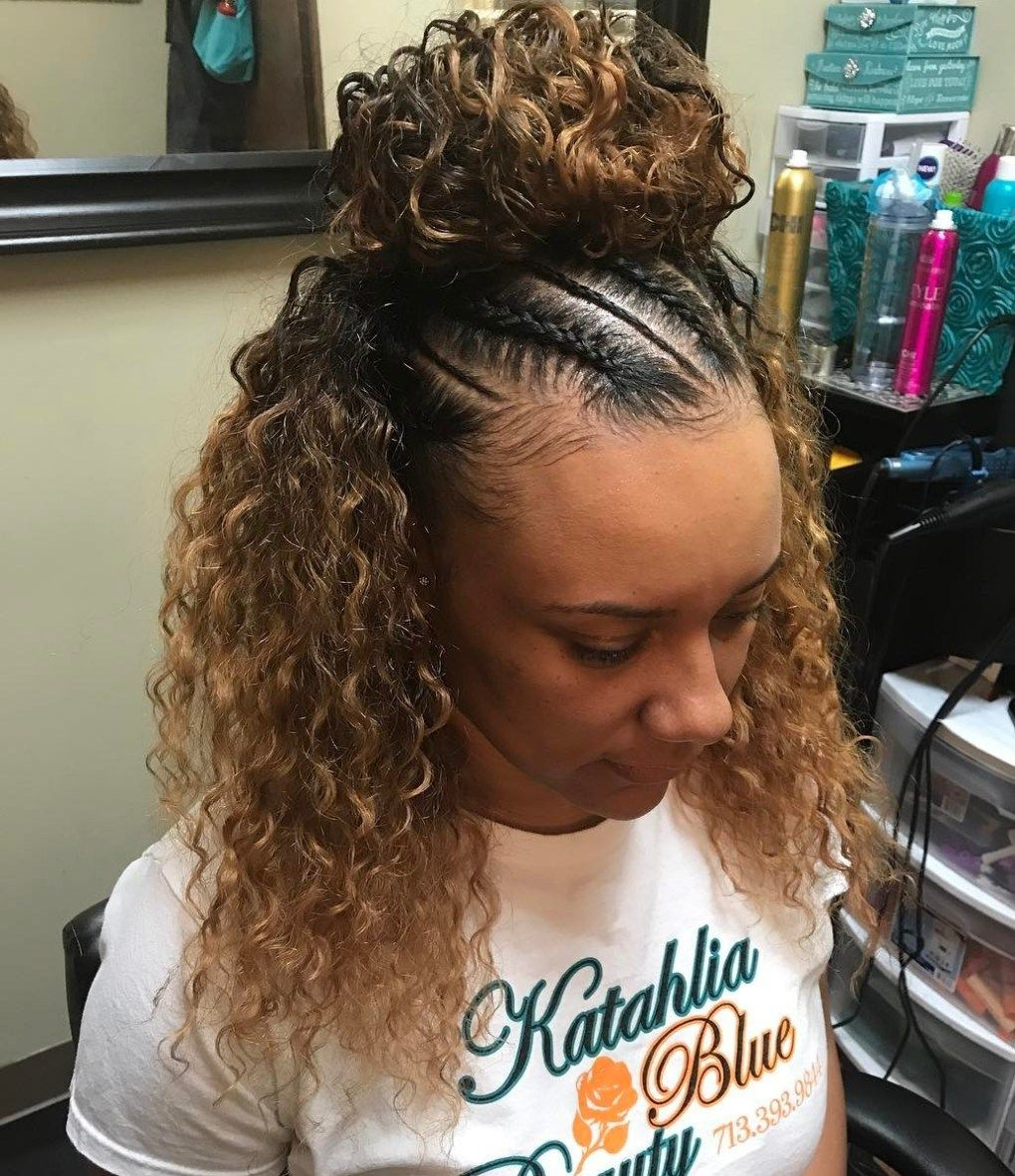 Styling Curly Hair 20 Ideas How To Spice Up Your Half Bun  Curly Hairstyles Curly And