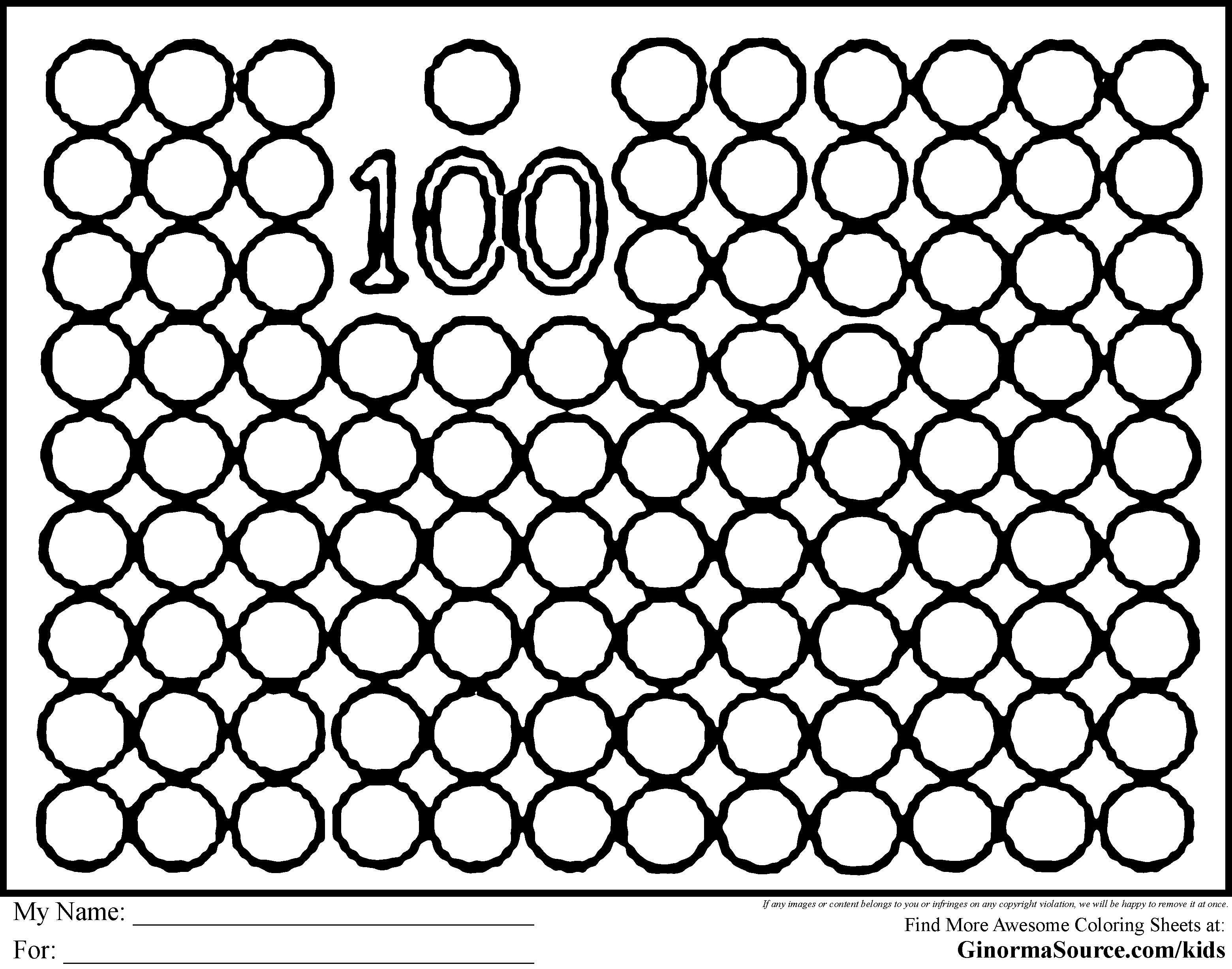 100 Day Coloring Pages