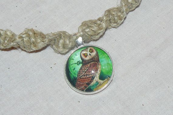 Glass pendant hemp necklace swirl knot owl clock green my glass pendant hemp necklace swirl knot owl clock green mozeypictures Images