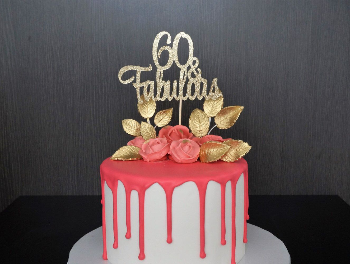 Any age gold glitter 60th birthday cake topper 60 and for 60th birthday cake decoration