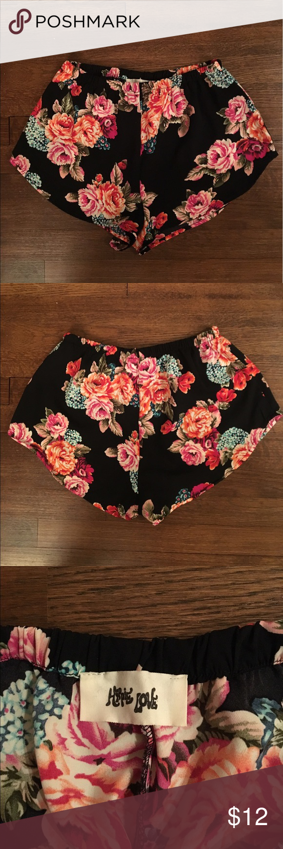 Silky High Waisted Black Printed Shorts Size M From Vanilla Sky boutique in NY.  High Waisted Black printed shorts. Pairs perfectly with a crop top and great for going out or hanging out. Vanilla Sky Shorts