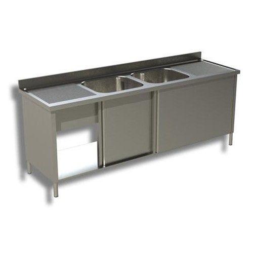 lavello armadiato in acciaio inox con ante scorrevoli a 2 vasche e 2