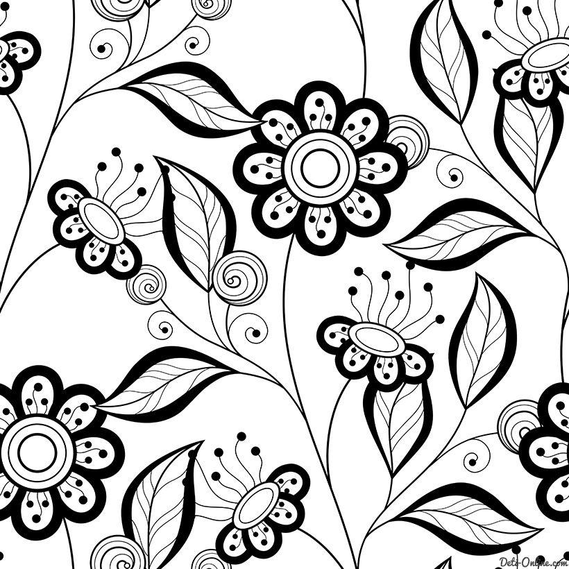 Раскраска Антистресс Простые цветы распечатать или скачать ...