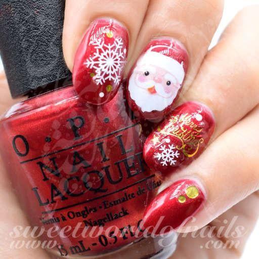 Merry Christmas Nails Santa Face Nail Water Decals Santa Face