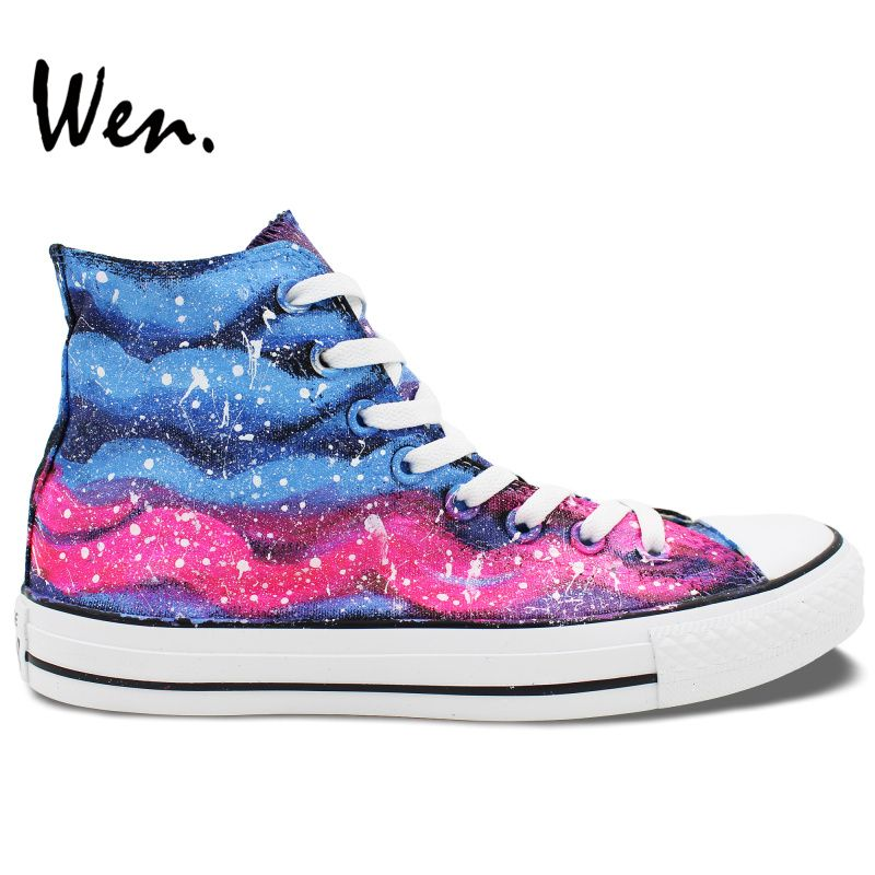 Wen Original Design Hand Painted Shoes Pink Blue Stripes Pattern Men  Women s High Top Canvas Sneakers 6c87eadea51e