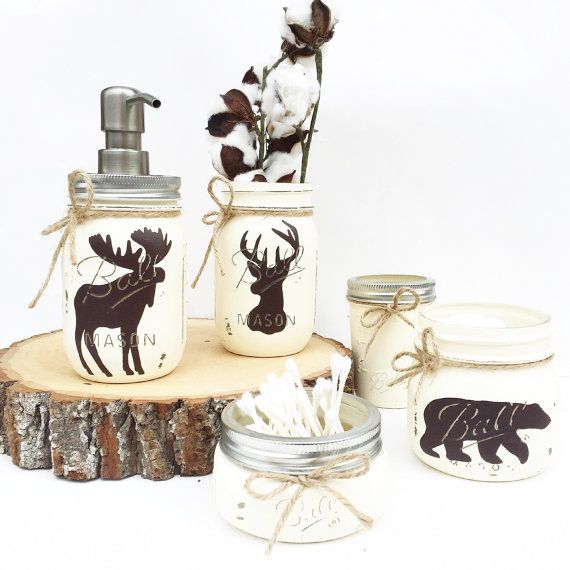 Mason Jar Bathroom Set Rustic Animals Woodland Animals