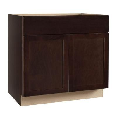 Hampton Bay Shaker Assembled 36x34 5x24 In Sink Base Kitchen Cabinet In Java Ksb36 Sjm The Home Depot Base Cabinets Bathroom Vanity Base Kitchen Cabinets With Sink