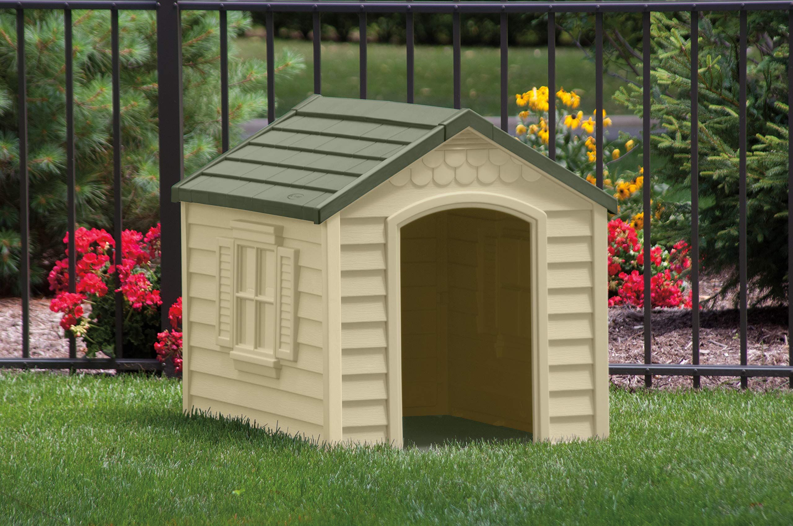 Suncast Outdoor Dog House With Door Water Resistant Dog House