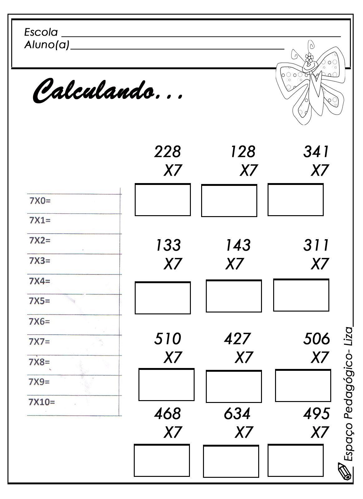 Tabuada Multiplicacao Atividade 7 Jpg 1164 1600 Com Imagens