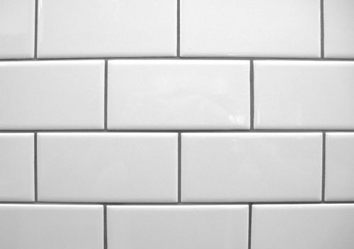 White Subway Tile With Contrasting Gray Grout Kitchen