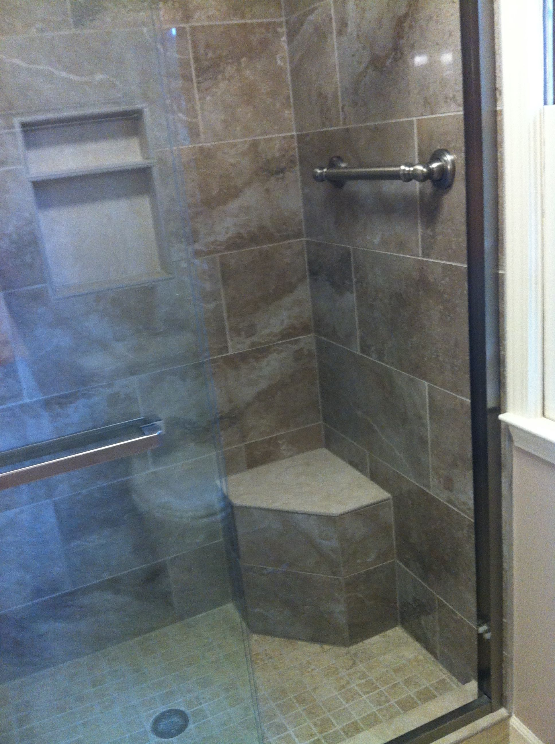 New Shower With Creekside Porcelain Tile From Flooru0026Decor And Moen Grab Bar  Towel Rack And Dreamline