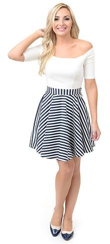 White   Navy Nautical Stripe Color Blocked Off Shoulder Flare Dress ... c6285b2b7