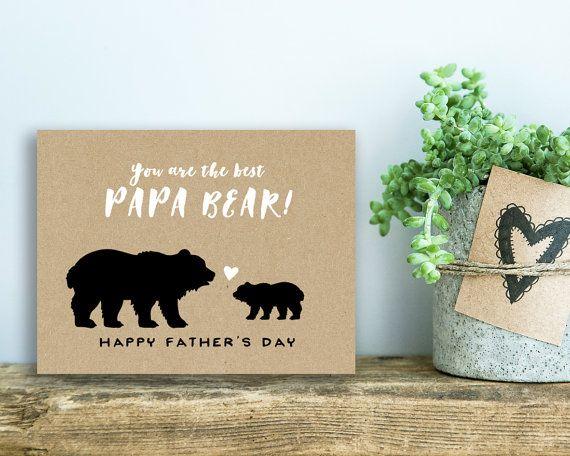 Printable Father S Day Card Papa Bear Kraft Love You Etsy Cards Papa Bear Bear Card