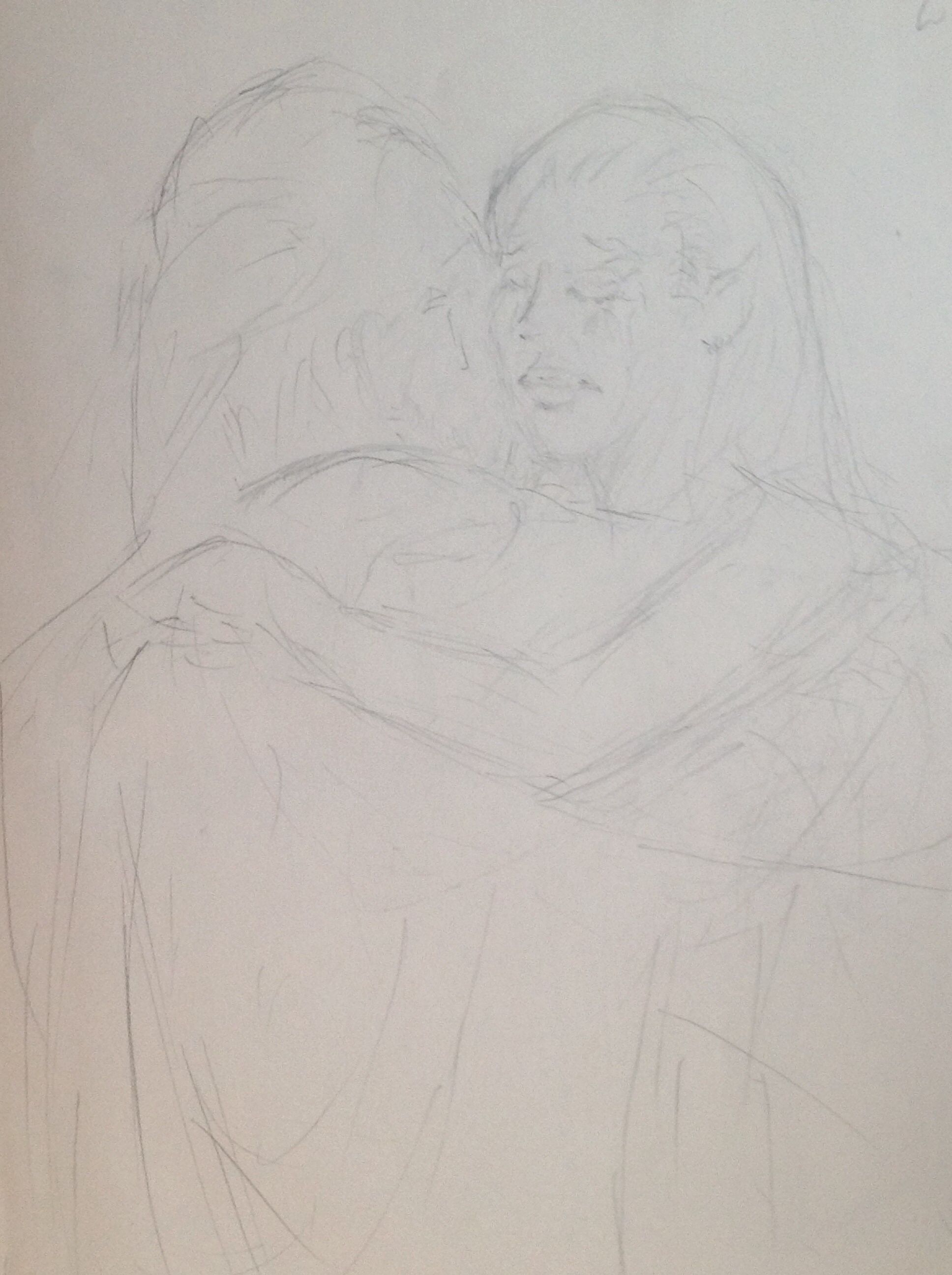 """Alice, now a Fey-súmaire (an Elven Vampire) embraces her long lost but still mortal father, Professor Michael Warren.  Fron my novella, """"The Defeated."""""""
