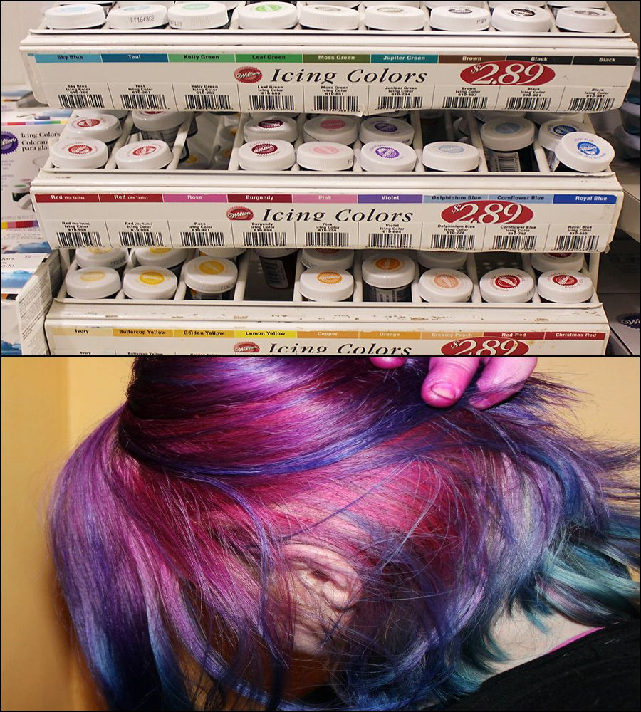 HOW TO DYE YOUR HAIR FUN COLORS. SOOOO CHEAP!!! Use Wilton Gel food ...