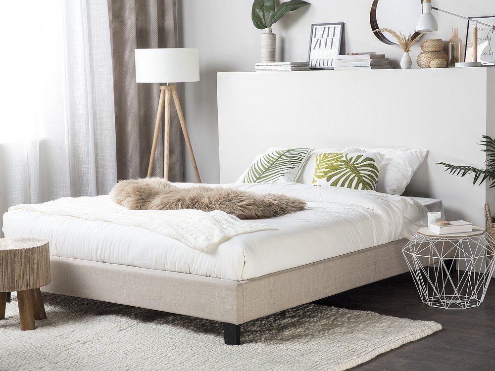 łóżko Beżowe Tapicerowane Ze Stelażem 160 X 200 Cm Roanne