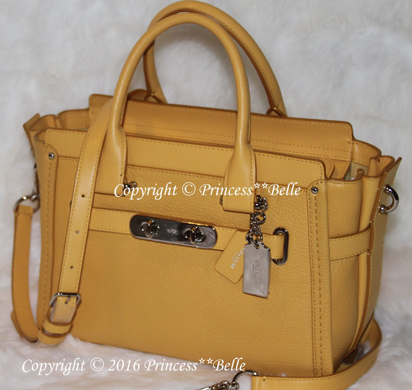 efe57be88fb7 ... purchase coach swagger 27 satchel leather bag purse handbag canary  yellow 450 329.99 f2c23 44adf