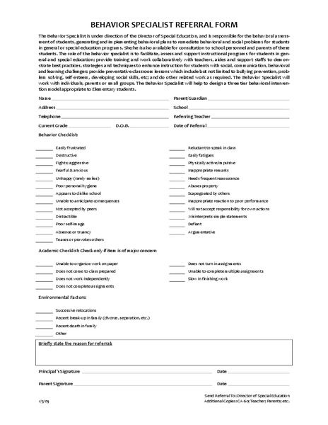 Behavior Specialist Referral Form  DiversityBehavioral