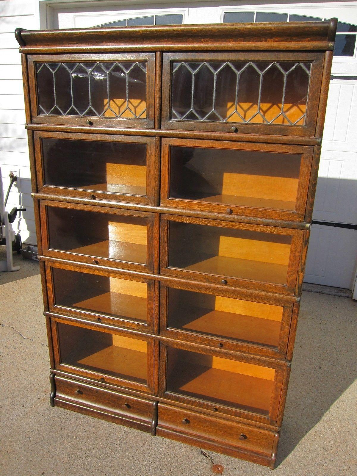 Rare Oak Globe Wernicke D Double Wide Bookcase Ebay Wide