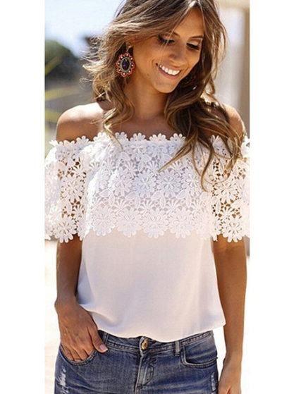 blusas vazadas no ombro em renda guipir  130714763f6