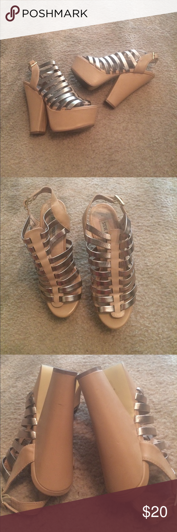 Steve Madden Platform heels Worn a couple of times little signs of wear still in great condition tan very comfortable Steve Madden Shoes Platforms