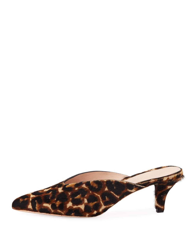 8ebb389ffcf4 Loeffler Randall Juno Leopard Kitten-Heel Mule Slide Leopard Kitten