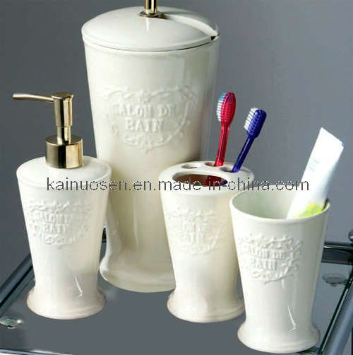 bathroom accessories set white ceramic